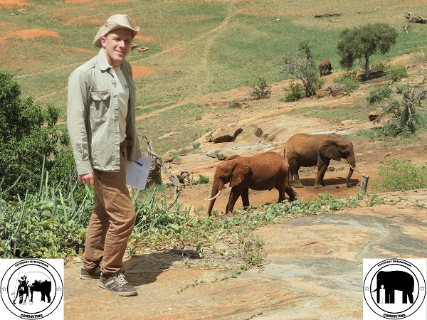 Elephantexpert Tobias Dornbusch with wild African Elephants